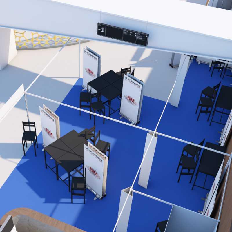 Mindae maquette 3D BIM pour stand du Pavillon Normandie au BIMworld 2018