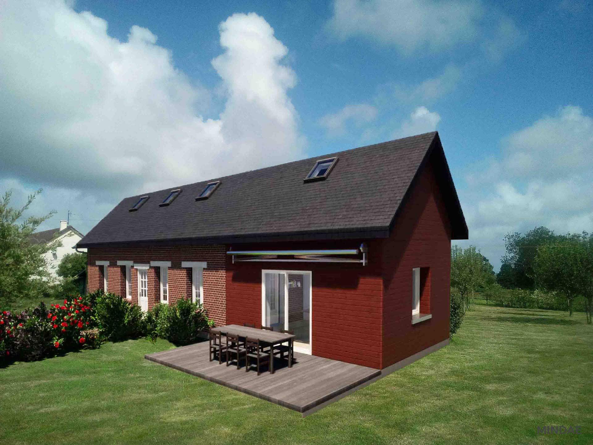 Mindae_3D_photomontage_maison_extension_bois_Cambremer_terrasse