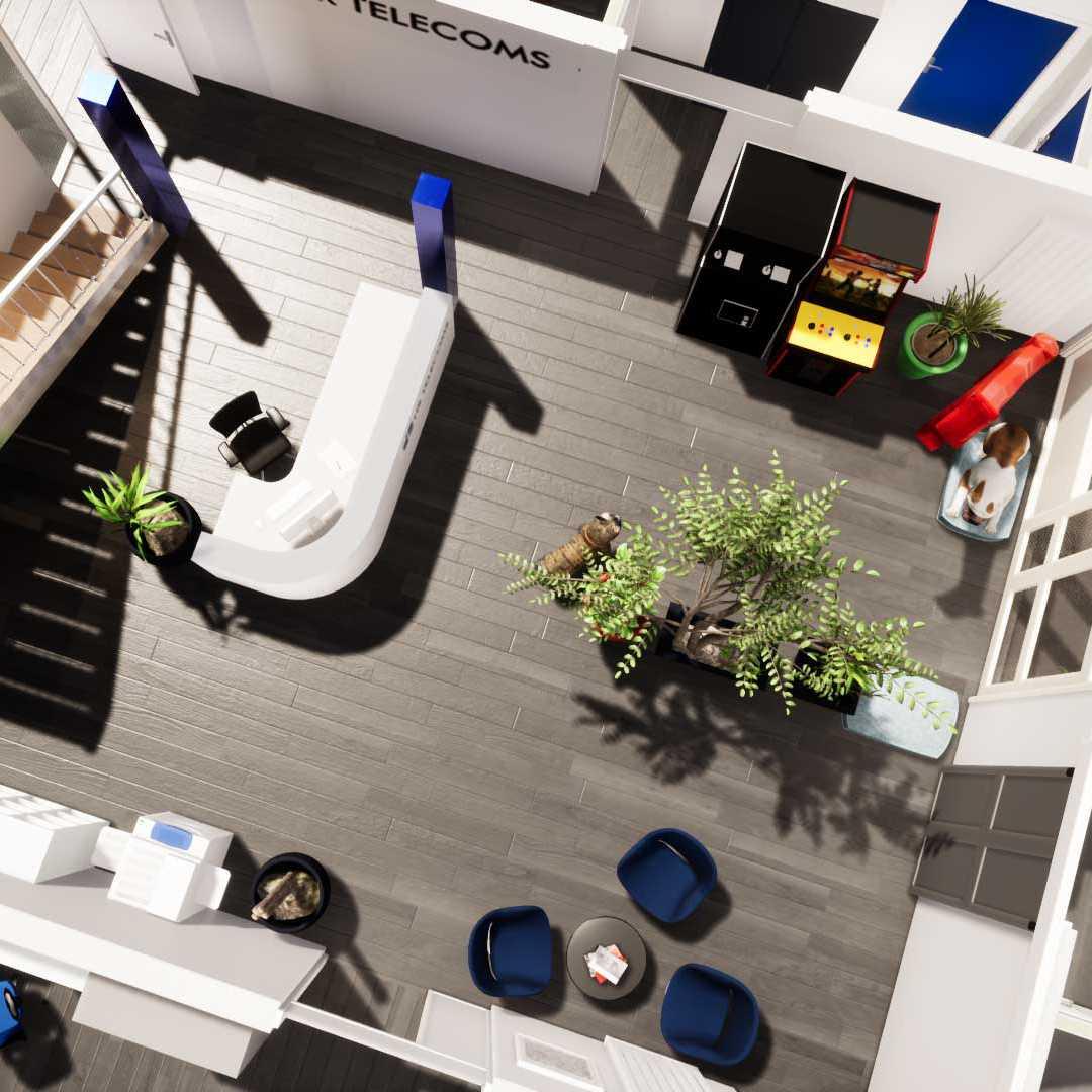 Mindae aménagement 3D des bureaux de HR Télécoms pour création d'une mezzanine