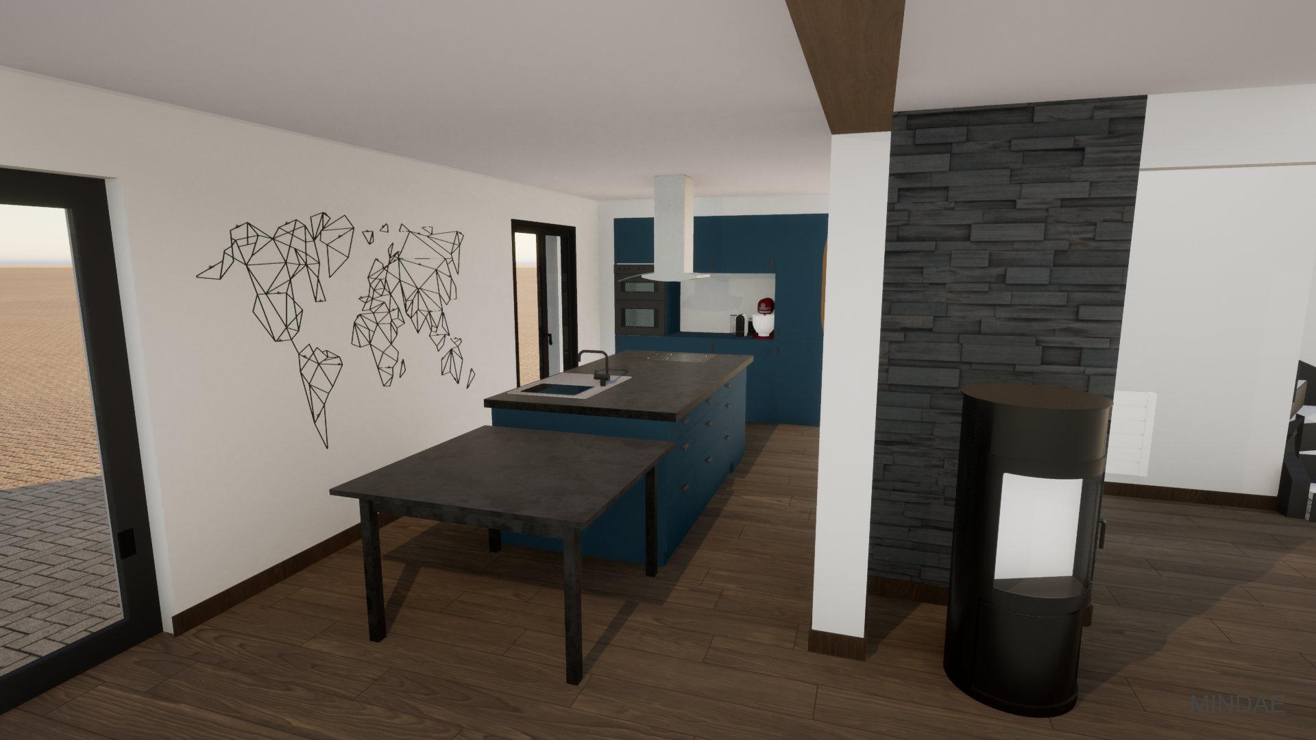 Mindae_Aménagement_Agencement _Poêle_cuisine américaine_3D (3)