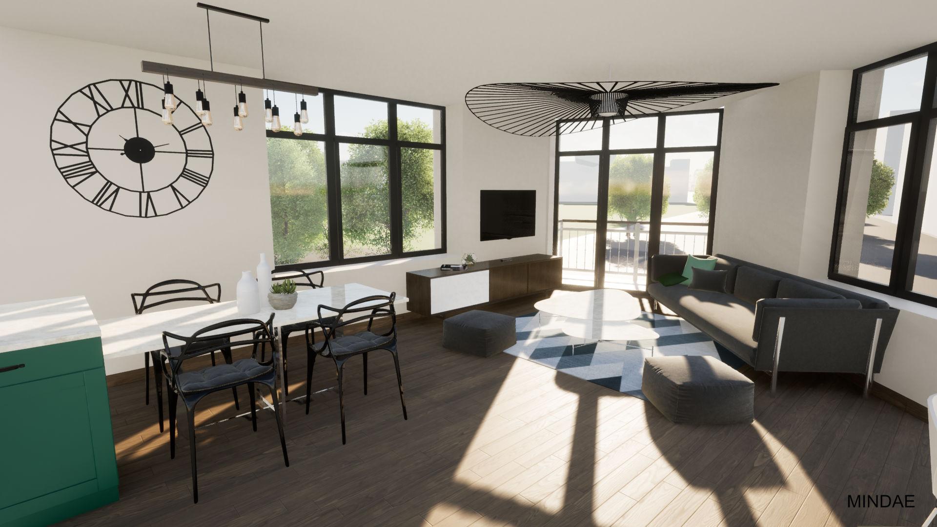 MINDAE_Charleroi_appartement_atypique_vue_salon_sejour_cuisine 1
