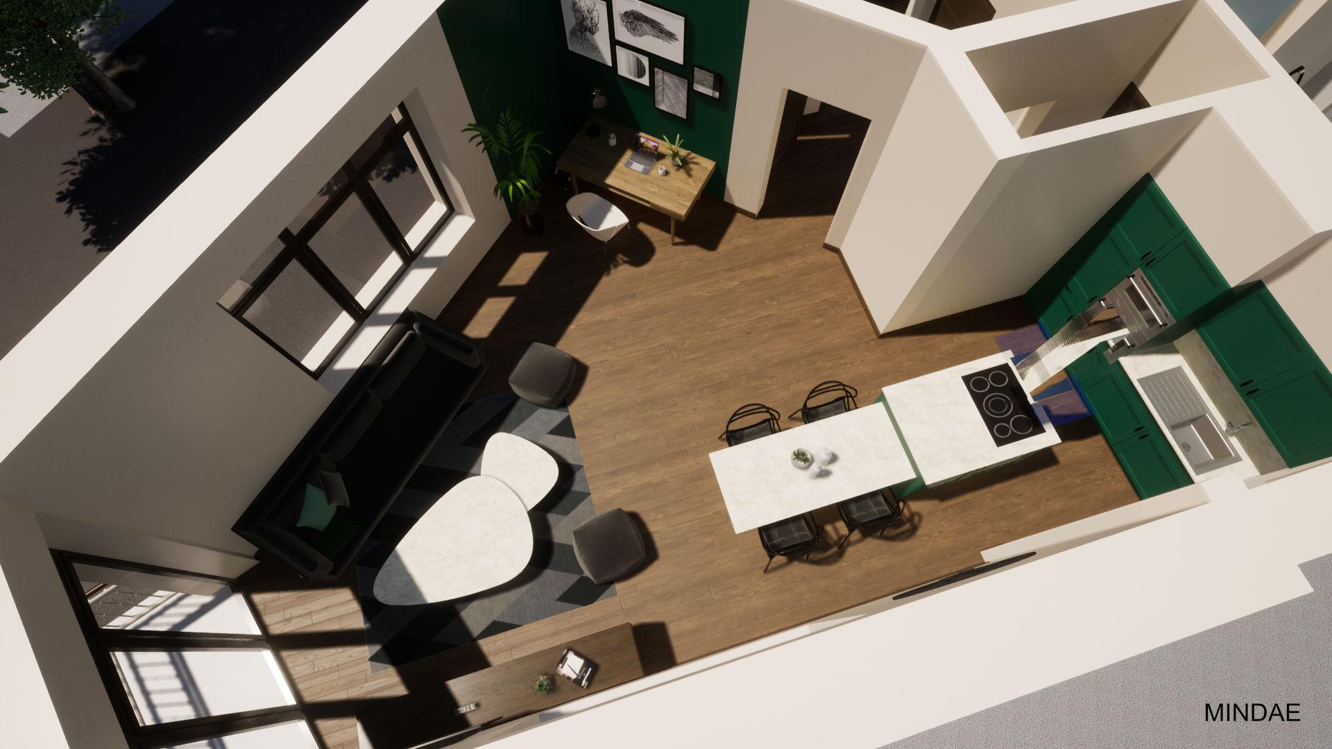 MINDAE_Charleroi_appartement_atypique_vue_salon_sejour_cuisine