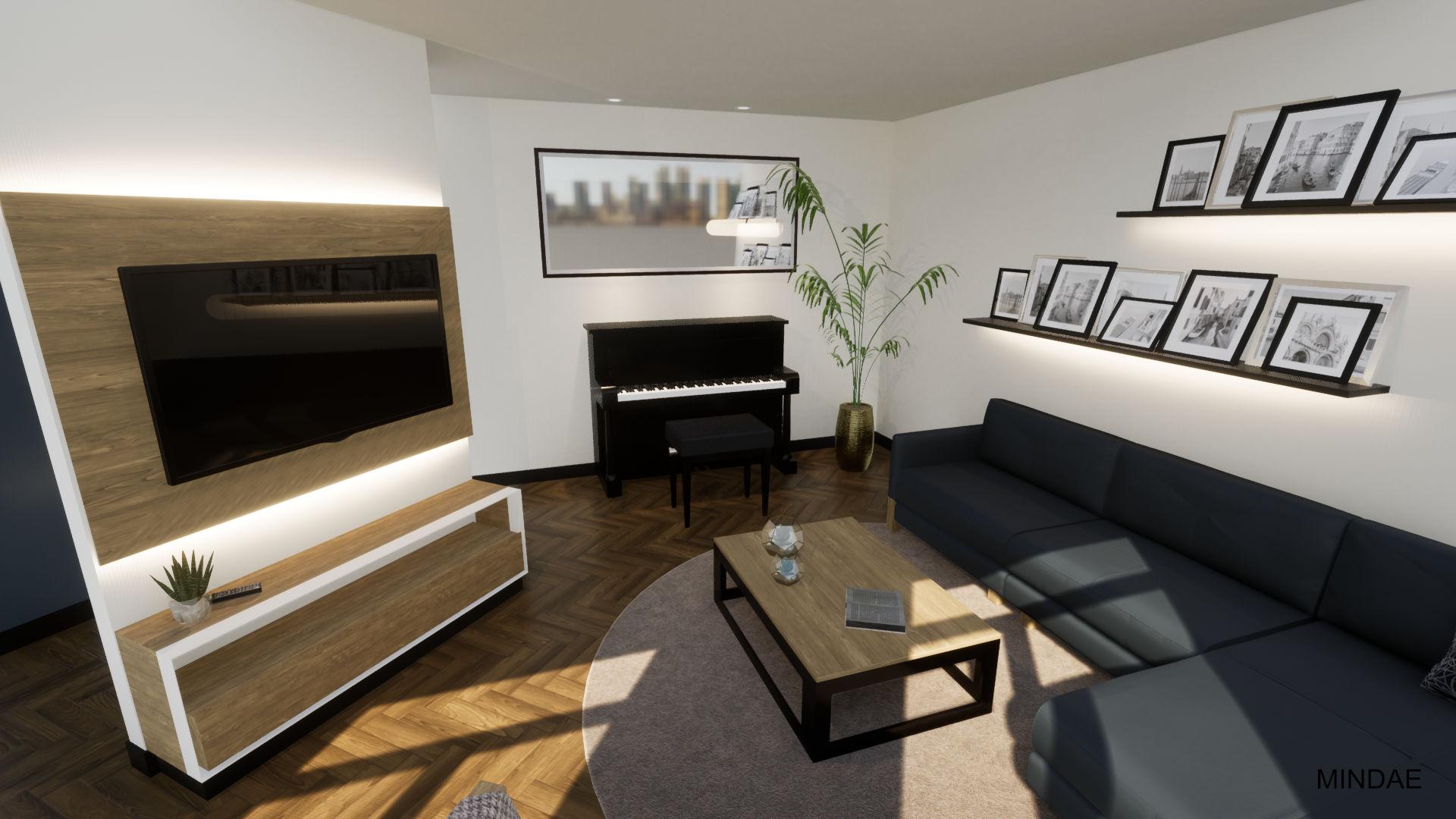MINDAE_Charleroi_Triplex_salon_séjour_piano_bureau_mobilier sur mesure (2)
