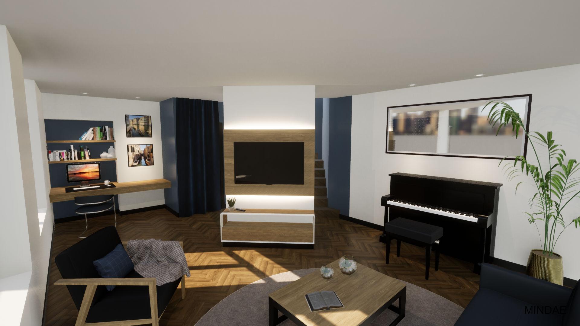 MINDAE_Charleroi_Triplex_salon_séjour_piano_bureau_mobilier sur mesure (3)