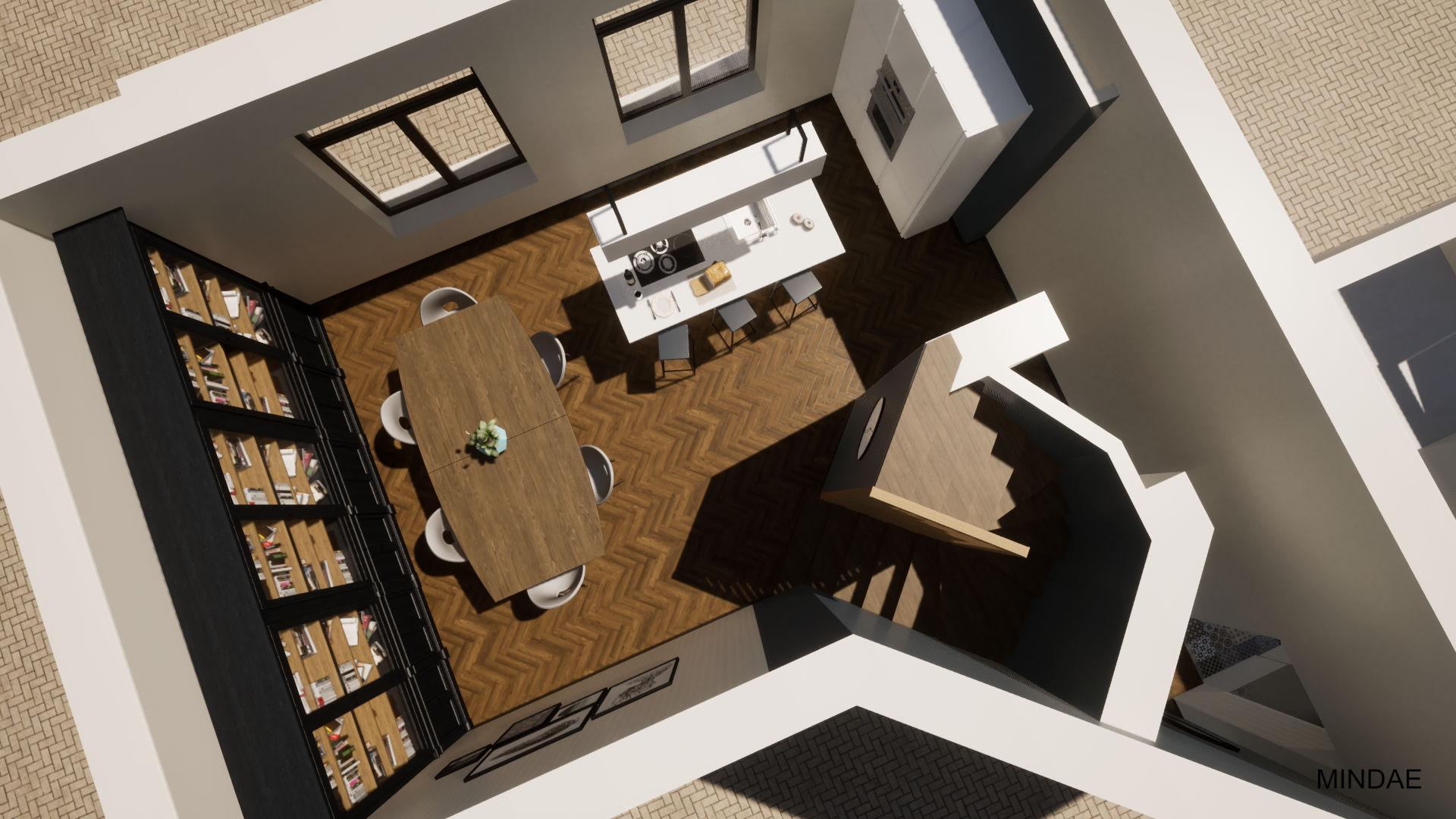 Mindae_Charleroi_Triplex_salle à manger_cuisine ouverte_bibliothèque (1)