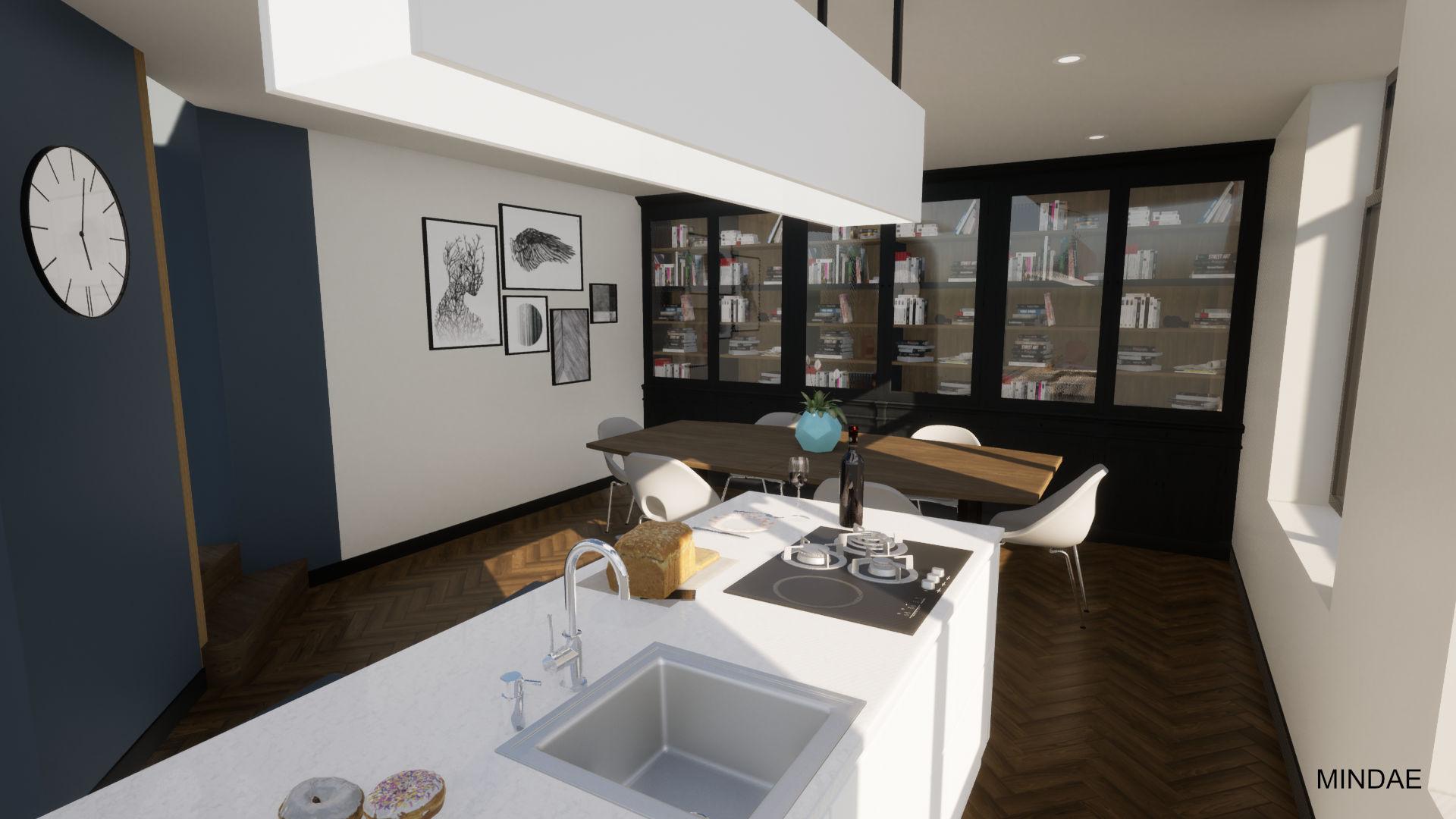 Mindae_Charleroi_Triplex_salle à manger_cuisine ouverte_bibliothèque (3)