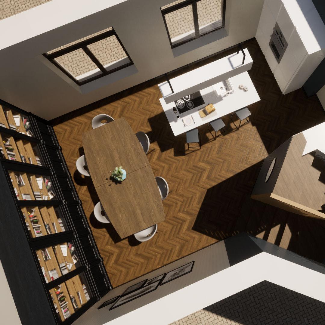 Mindae_Charleroi_Triplex_salle à manger_cuisine ouverte_bibliothèque (miniature)