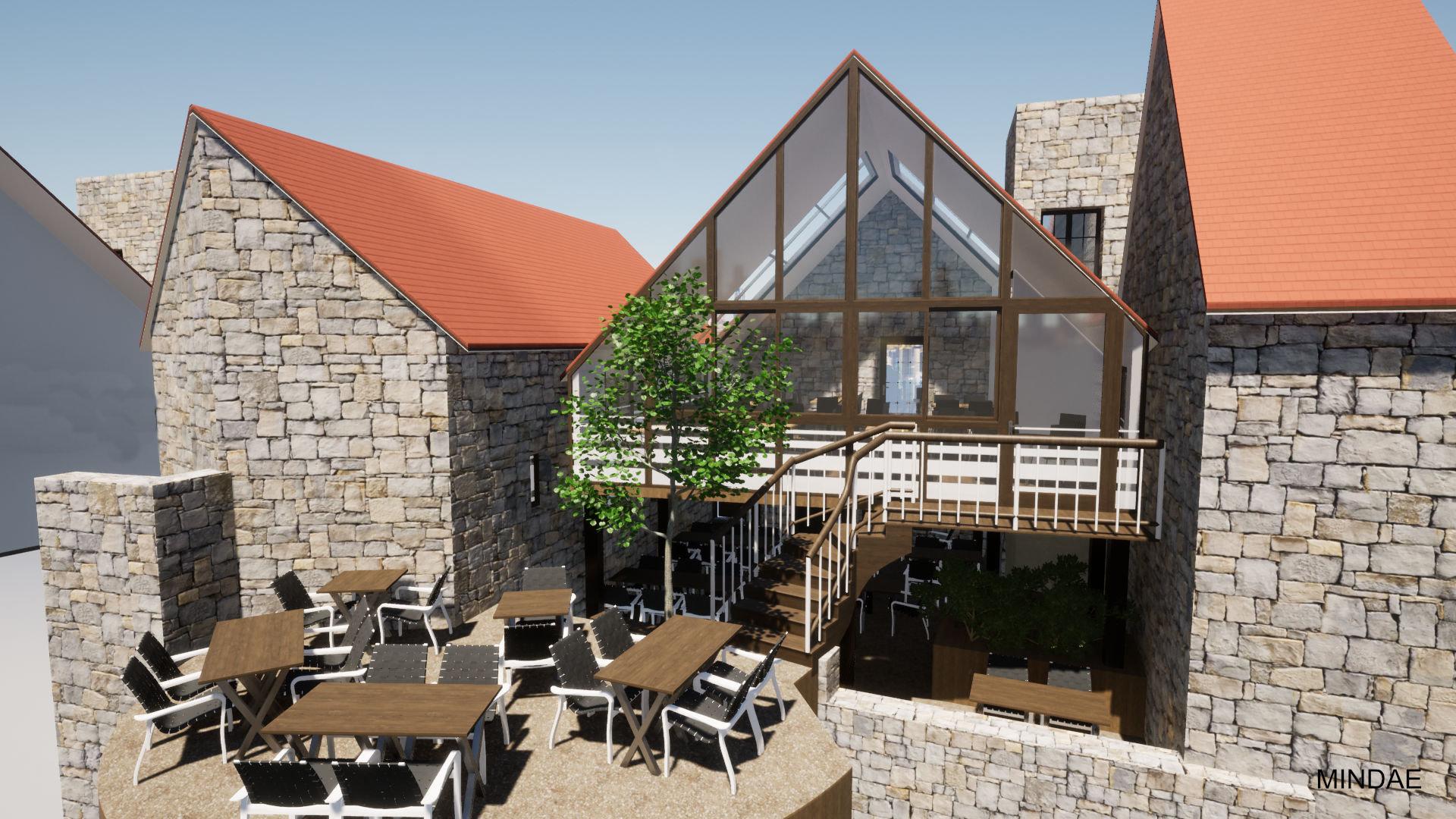 MINDAE_restaurant_extension_veranda_colombage_Domfront_terrasse_cours (1)